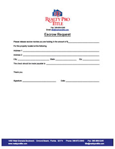 Escrow Request Sheet